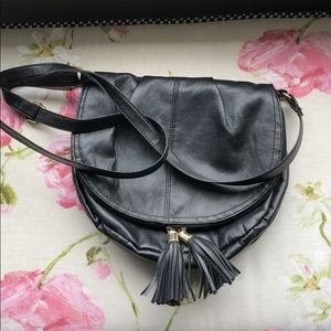 Black crossbody tassel purse